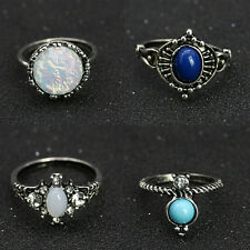 4pcs Crystal Opal Knuckle Midi Mid Finger Tip Stacking Rings Set Retro sm