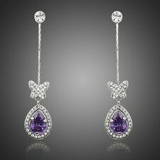 Platinum Plated Butterfly W/Princess Purple Cubic Zirconia Drop Earrings E841-45