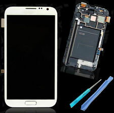 Fr Samsung Galaxy Note2 II N7100 LCD Display Touch Digitizer Screen White +Frame