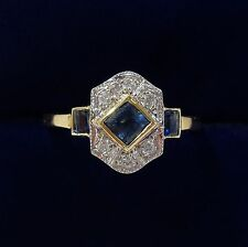 Sapphire & Diamond Panel Ring In 18ct Yellow Gold - Size N 1/2 (Art Deco Style)