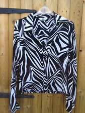 New Look Vintage Black White Shirt Top Blouse 12