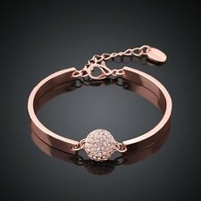 Fashion Charm Women Rose Gold Plated Diamond Cuff Bracelet Bangle Jewelry Gift