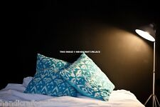 """Indian Cushion Cover Ikat Print Ethnic Kantha Stitch Turquoise Pillow Case 16"""""""