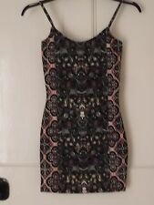 Topshop very mini dress size UK 8 BNWOT black printed Christmas party
