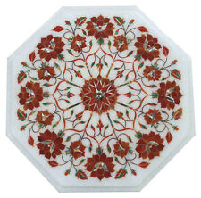 """12""""x12"""" Marble Center Table Top Carnelian Inlay Mosaic Home Arts Christmas Gifts"""