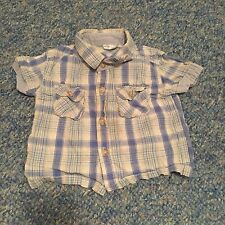 baby boys checked blue green short sleeved shirt top 3-6 months clothes