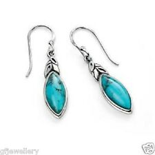 SOLID 925 HALLMARKED ITALIAN SILVER MARQUISE CUT GENUINE TURQUOISE DROP EARRINGS