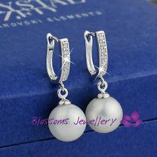 18K White GOLD GF Silver Wedding Pearl Dangle EARRINGS Swarovski CRYSTAL ES462