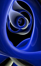 Framed Print - Abstract Swirly Blue Rose (Picture Carnation Daisy Orchid Art)