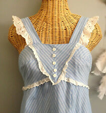 Vintage 70s Blue and White Striped Pinafore Eyelet Hippie Bohemian Sun Dress S