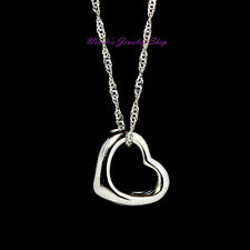 925 Sterling Silver Filled Heart Pendant + White Gold Plated Chain Necklace