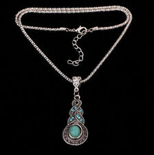 Women's Tibetan Silver Blue Turquoise Crystal Pendant Chain Necklace Jewelry