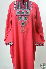 New Maxi Kaftan High Quality Embroidered Hot Pink Tunic Dress XL Made in UAE