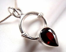 Small Faceted Garnet Necklace 925 Sterling Silver with Rope Style Accents