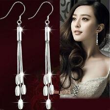 Women 925 Sterling Silver Long Drop Dangle Tassel Earrings Ear Stud Jewelry Gift