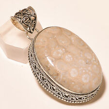 """FOSSIL CORAL GEMSTONE VINTAGE STYLE 925 STERLING SILVER PENDANT 2.1"""""""