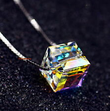 925 Sterling Silver Cube Necklace Made With AB White Swarovski Crystal N191