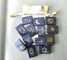 13 Piece Black Jasper Witch's Rune Set & Pouch - Wicca, Pagan, Reiki
