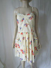 Miss Selfridge pale yellow floral print strappy summer dress Size 10 New