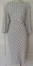 PHASE EIGHT CHESCA CHECK BLACK IVORY DRESS SIZE 18 BNWT