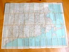 ANTIQUE 1916 Huge Fold Out Color Official Map of Southern New England 92x120 cm