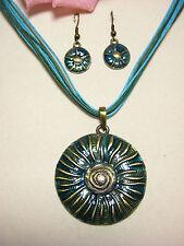 Halskette Ohrringe Schmuckset Bronze emailliert Modeschmuck Anhänger