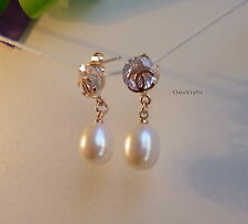 Genuine 925 sterling silver 10-11mm 5A drop freshwater pearl  stud earring white