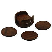 Untersetzer Holz Beindesign 6 runde Tellerchen in Aufbewahrungsdose Tischgedeck