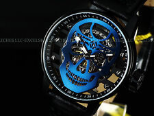 New Invicta 48mm Skeletal Blue Skull TY2807 Mechanical S1 Rally Leather SS Watch