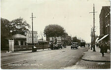 CHISWICK HIGH ROAD NEAR GUNNERSBURY STATION. REAL PHOTOGRAPHIC (RP) POSTCARD