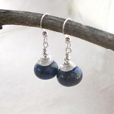 LAPISLAZULI Ohrringe 925 Silber Rondell Ohrhänger blau Sterlingsilber d827