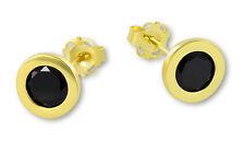VASCAYA Damen Ohrstecker Ohrring Zirkonia schwarz Gold 333 Geschenk Weihnachten