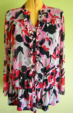 Ladies Womens Long Sleeve Button Up Blouse Top Floral Mesh INC Size 1X