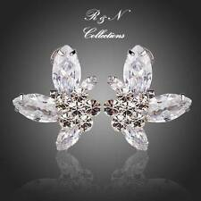 Platinum Plated Butterfly Clear Swiss Cubic Zirconia Stud Earrings (E562-30)
