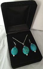 "QVC Silver Plated Earrings and Pendant Set With Turquoise Stone 18"" Chain"