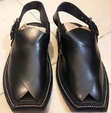 Pesahawari HandMade Leather Charsaddah Chappal Black Eid Men's Pakistan Sandal