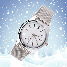 Ladies Fashion Omujia White Dial Stainless Steel Silver Mesh Band Wrist Watch.