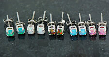 5 Pair 5 Colors 316L Surgical Steel Tiny 3mm Fire Opal Ear Studs Earrings 20g