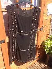 DRAMATIC BLACK STUDDED DRESS, SIZE 10, IDOL FOR NEW LOOK. FULLY LINED, CLASSY