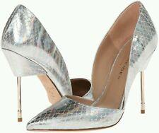 Silver Hologram Kurt Geiger Bond Snake Printed Leather High Heel Court Shoe UK 7