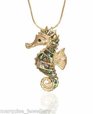 """925 Sterling Silver Seahorse Pendant & 18"""" Snake Chain. Abalone."""