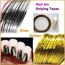 10pcs Gold & Silver Striping Tape Line Nail Art Tips Decoration Sticker