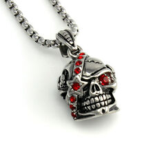 Mens 316L Stainless Steel Silver Red Star Skull Biker Pendant Box Chain Necklace