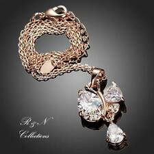 Butterfly18K Rose Gold Plated Swiss Cubic Zirconia Pendant Necklace (N384-25)