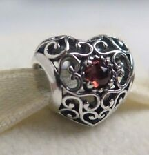 Genuine Pandora January Signature Heart Garnet Birthday Charm