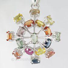 Anhänger - 925 Sterling Silber mit Saphir - multicolor Medaillon Amulett |In11
