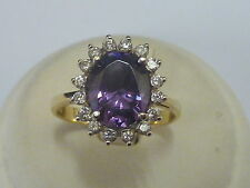 Stunning Ladies 18ct Gold Amethyst & CZ Oval Cluster Ring - Size P