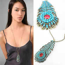 Fashion Vintage Women's Turquoise Peacock Feather Pendant Long Chain Necklace YX