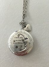 I love you to the moon and back picture locket necklace with hand stamped heart