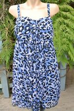 CROSSROADS Flowing Black/Blue Animal Print DRESS Size 12 NEW rrp $$59.95